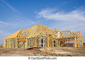 nowy, zbudowanie, fryz, dom