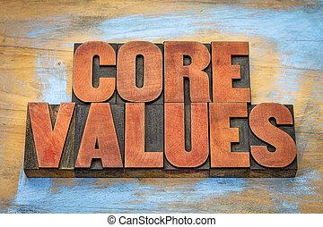 noyau, bois, valeurs, type, vendange