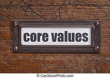 noyau, -, cabinet, valeurs, fichier, étiquette