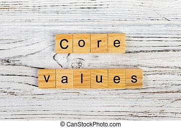 noyau, concept, mot, bois, fait, valeurs, blocs