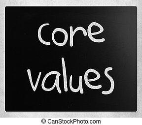 noyau, concept, tableau noir, -, craie, valeurs, éthique, blanc, manuscrit