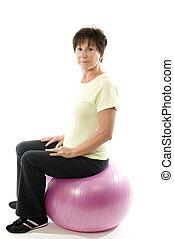 noyau, formation, femme, exercisme, balle, fitness, utilisation