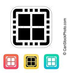 noyau, illustration., vecteur, quad, icon., unité centrale...