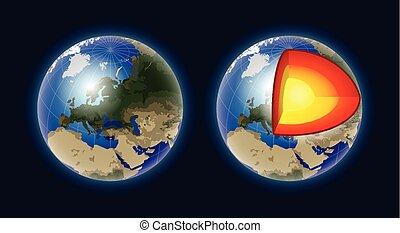 noyau, moderne, -, isolé, illustration, réaliste, vecteur, la terre, structure