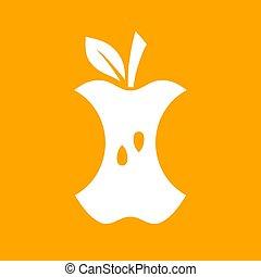 noyau, pomme, icône