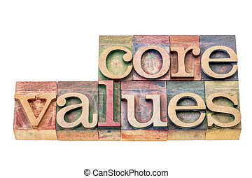 noyau, type, bois, valeurs