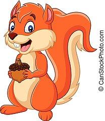 noz, caricatura, segurando, esquilo