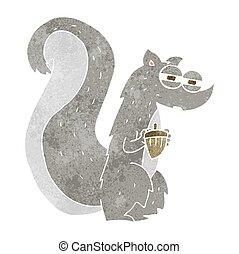 noz, retro, caricatura, esquilo