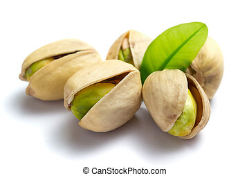 nozes pistache, com, folha