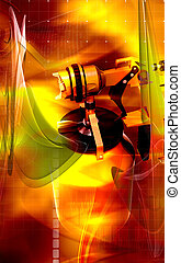 Nozzle spray gun - Digital illustration of nozzle spray gun...