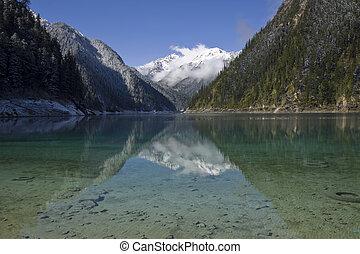 np, jiuzhaigou, 湖, 長い間, 四川
