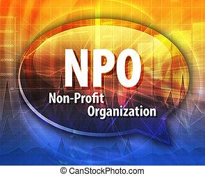 NPO acronym word speech bubble illustration