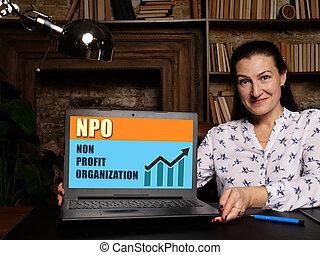 NPO NON PROFIT ORGANIZATION concept on screen.