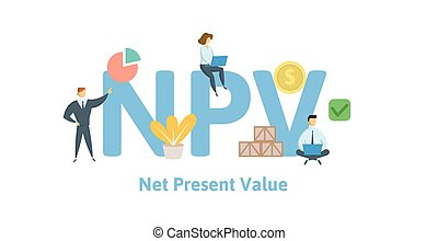 NPV, Net Present Value. Concept with keywords, letters and...
