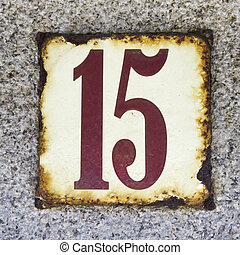 enameled and weathered housse number fifteen