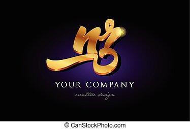nr n r 3d gold golden alphabet letter metal logo icon design handwritten typography