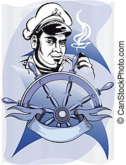 nseaman - The old seaman in a peak-cap stands behind a wheel...