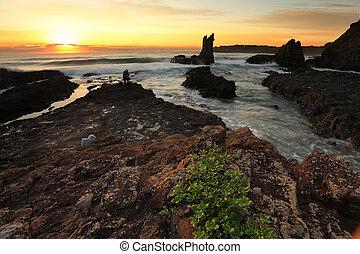 nsw, australie, levers de soleil, roche cathédrale