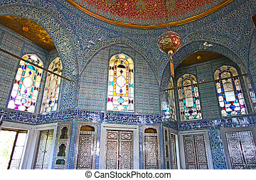 nterior, av, den, topkapi palats, in, istanbul, turkiet