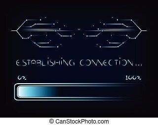 nternet, connecion, lijnen, met, voortgang bar, inlading,...