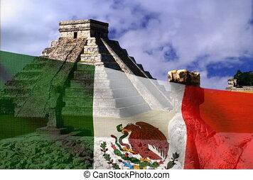 ntsc, pyramid., drapeau mexicain, fond