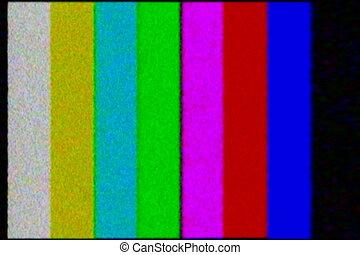 ntsc, -, telewizja, test., farbować słupek, ruina
