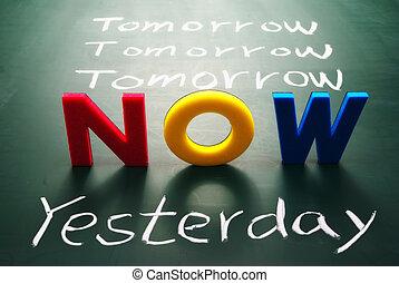 nu, gisteren, en, morgen, woorden, op, bord