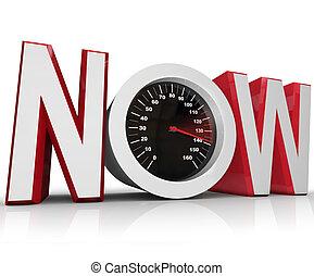 nu, hastighetsmätare, tävlings-, till, bulta, brådskande, tidsgräns