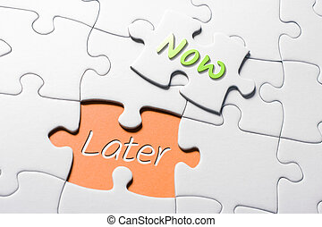 nu, later, missende , raadsel, jigsaw, woorden, stuk