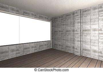 plancher mur b ton bois nu int rieur vide rendu mur plancher b ton bois nu. Black Bedroom Furniture Sets. Home Design Ideas