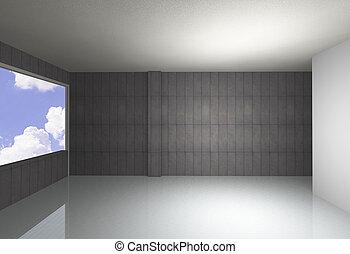 nu, mur concret, et, refléter, plancher