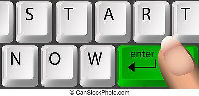 nu, start, toetsenbord