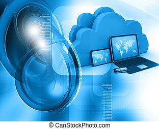 nuage, appareils, render, serveur, électronique, 3d