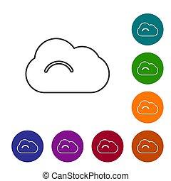 nuage, arrière-plan., vecteur, cercle, ensemble, noir, ligne, icônes, buttons., isolé, blanc, couleur, illustration, icône