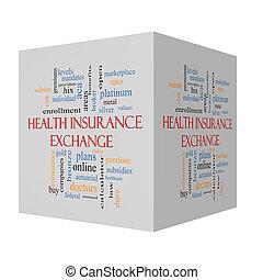 nuage, assurance, cube, échange, santé, 3d, concept, mot
