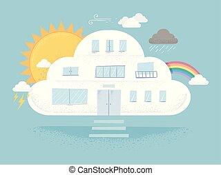 nuage, bâtiment, temps, illustration