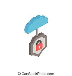 nuage, calculer, cadenas, bouclier, sécurité