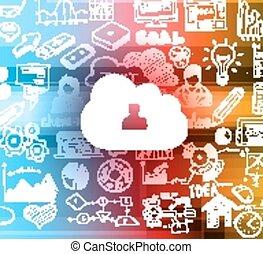 nuage, calculer, concept, à, infographics, croquis
