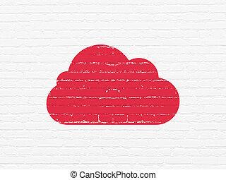 nuage, calculer, concept:, nuage, sur, mur, fond