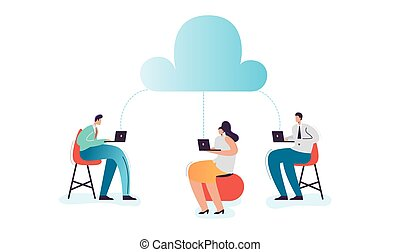 nuage, calculer, dessin animé, caractères, technology.