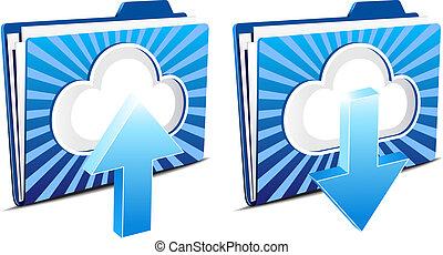 nuage, calculer, envoyer un fichier par transfert de données en une ordinateur, et, téléchargement
