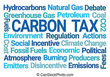 nuage, carbone, impôt, mot
