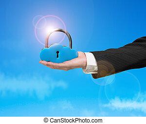 nuage, casier, forme, lumière soleil, main