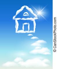 nuage, ciel, maison