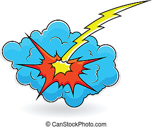 nuage, comique, éclater, explosion, vecteur