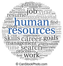 nuage, concept, étiquette, ressources humaines