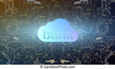 nuage, concept, animation, banque
