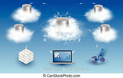 nuage, concept, business, intelligence