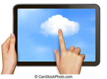 nuage, concept, calculer
