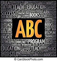 nuage, concept, mot, abc, education